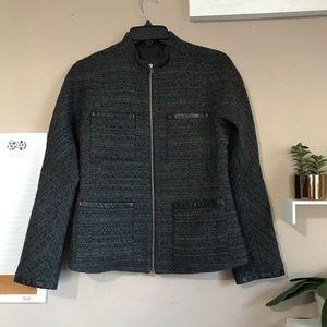 Theory Womens Tweed Leather Trim Jacket Gray Sz 4